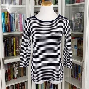 J. Crew Perfect Fit Navy Striped Boatneck Tee